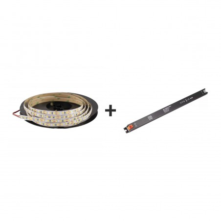 Pachet promo: Banda LED SMD2835 lumina caldă 120led/m 3000K 12(V) 5m/pc + Sursă de alimentare Super Slim CLL60-W1V12 60W