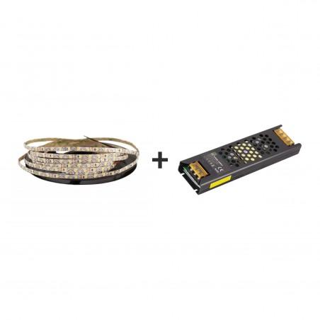 Pachet promo: Banda LED SMD2835 S-Type lumina neutră 72led/m 4000K 12(V) 5m + Sursă de alimentare Super Slim CLL100-W1V12 100W