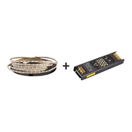 Pachet promo: Banda LED SMD2835 S-Type lumina rece 72led/m 6000K 12(V) 5m + Sursă de alimentare Super Slim CLL100-W1V12 100W