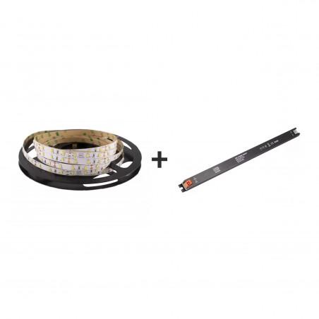 Pachet promo: Banda LED SMD2835 lumina neutră 60led/m 4000K 12(V) 5m/pc + Sursă de alimentare Super Slim CLL60-W1V12 60W