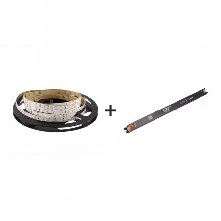 Pachet promo: Banda LED SMD2835 lumina caldă 60led/m 3000K 12(V) 5m/pc + Sursă de alimentare Super Slim CLL60-W1V12 60W